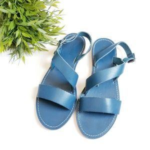 Madewell blue leather strappy Buckle sandals